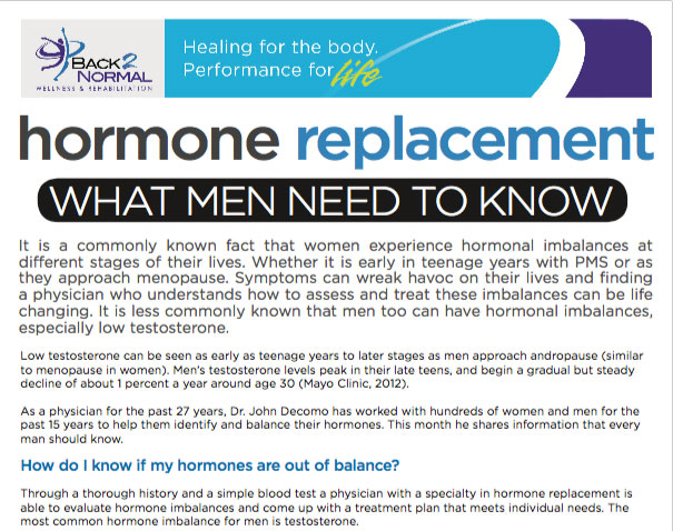 Hormone Replacement - Back 2 Normal